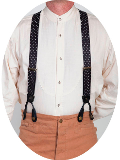 Scully Rangewear Black Y Back Polka Dot Suspenders 1.5""