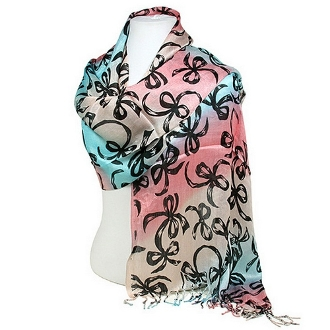 Blue and Pink Ribbon Bows Silk Scarf