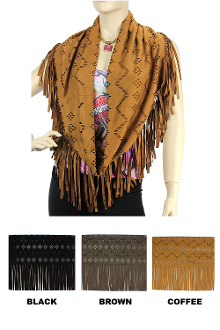 This Infinity Diamond Cut Western Fringe Scarf is a light micro fiber made suede-like infinity scarf with laser cut out diamond pattern and fringed hem for the cowgirl in you.