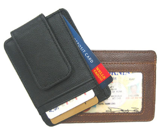 This Cowhide Leather magnetic money clip comes in black or brown with multiple credit card slots as well as an outer id window and a magnetic flap for holding your paper money.