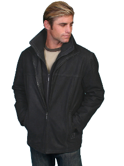 Vintage black premium leather car coat. Tailored to perfection with this removable knit front and collar. It features the allure of the double collar and double zip front closure. Two lower side entry welt pockets.