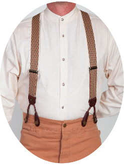 Scully Rangewear Beige Diamond Pattern Y Back Suspenders 1.5""