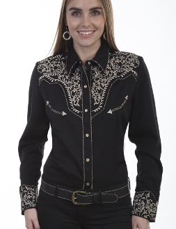 Scully Women's Tan Embroidered Black Western Shirt