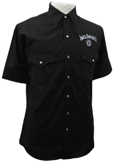 This Mens Short Sleeve Jack Daniel's Logo Black Western Shirt is a great western look with Pearl snaps and western pocketsl for any cowboy who loves jack daniel's