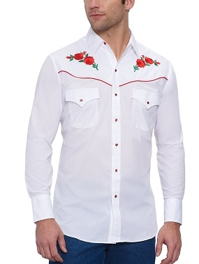 This Red Piped Red Rose Mens White Western Shirt features embroidered red roses western piped yokes front pockets retro pearl snaps with matching western shirt for both women and men available.