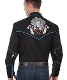 "This ""Dream Catcher"" Scully Mens Black Western Embroidered Shirt has detailed embroidered dream catchers with a skull faced head dress and tomahawks and contrasting piping throughout."