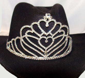 """Her Majesty of Hearts"" Rhinestone Cowboy hat tiara is proudly made in the USA for the queen of the rodeo to be crowned by this cowboy hat tiara is an exciting look an any cowgirl competing to be the horse show winner."