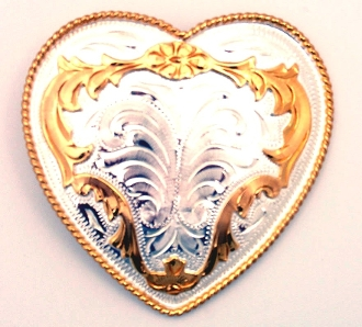 This Sterling Silver Gold Plated Western Heart Belt Buckle is a line dance show stopper beautiful etched silver belt buckle with gold plated accents for any cowgirl.