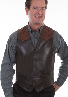 This Mens Scully Brown lambskin leather Ostrich Western Vest is assembled in the USA with a contrasting real ostrich leather yoke with five button front closure with two front pockets and one inside pocket completely lined.