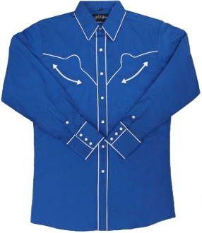 This Mens SB Royal blue white piped western shirt is like the one worn in the very popular movie SUPERBAD worn by Jonah Hill. This is also a replica vintage mens western shirt with the retro pearl snaps, piping and smiley pockets.