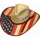 This Adult Palma Verde USA American Flag Straw Cowboy Hat has the stylish pinch front crown with the red and blue stars and stripes to show off you are proud to be American. 4th of July or any Patriotic even or parade.