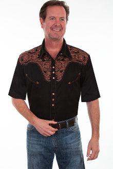 This Mens Scully Copper Embroidered Short Sleeve Black Western Shirt is a western favorite with the beautiful vintage smiley pockets and retro floral embroidered yoke complete with pearl snaps a great western cowboy shirt for men.