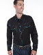 This Mens Scully Rockabilly Turquoise piped black Western Shirt is a retro throwback vintage cowboy shirt with the smiley pockets and diamond pearl snaps in a classic twisted piping made to last forever.