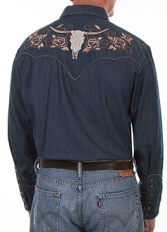 This Longhorn Rose Embroidered Scully Mens Denim Western Shirt features embroidered roses on the front yokes and a longhorn skull with roses on the back yoke and retro piping throughout.