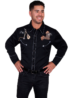 "This Scully mens ""Playing from the Grave"" black western shirt has embroidered detailed ghostly looks with vintage pearl snaps and smiley pockets and twisted retro piping."