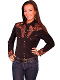 "This ""Big Iron Gunfighter"" Womens Black western shirt by Scullyt is a popular matching western shirt for his and hers matching shirts with embroidered floral top and back yokes with twisted piping"