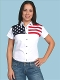 USA flag shirt, womens usa flag shirt, Scully American flag shirt, USA flag western shirt, ladies USA flag shirt, short sleeve western shirt, short sleeve usa flag shirt for women, American flag shirt by Scully