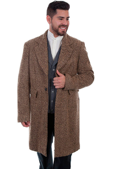 This Mens Scully USA Made 3/4 Long Herringbone Pile Frock Coat in a herringbone brown features notched lapels, a 2 button front, 2 lower flap pockets. will keep you warm and dry. made in the USA