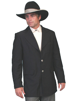 This Mens Scully Traditional Old West Black Dress Coat is a traditional town coat with decorative metal buttons and two front flaps. This 100% polyester coat comes in mens regular and big sizes for any frontier look.