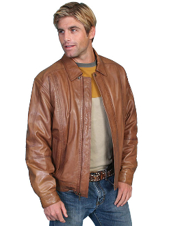 This Mens Scully Cognac Soft Lambskin Jacket is avail in Big n Tall made of lambskin leather for the working cowboy who loves a quality western coat feels warm in a Zip front with snaps at collar and waist
