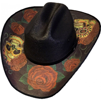 This Adult Sahuayo Sugar Skulls Black Straw Cowboy Hat has the stylish Skull and Roses print for Halloween or any occasion for the Wild Cowboy in you. This is a Unique black straw cowboy hat for any cowboy or cowgirl.