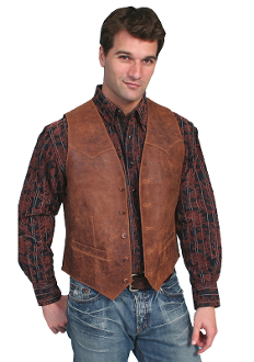 Mens Scully Cowhide Vintage Leather Brown Western Vest