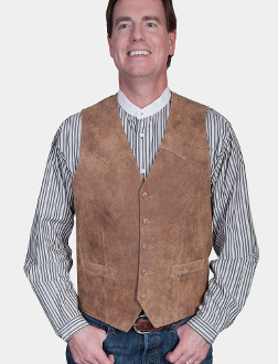 This Mens Scully Lambskin Leather Antique Nubuck Western Vest has a 5 button front and 2 front pocket with single point western yokes & an inner pocket with soft Acetate lining, a true cowboy vest for men.