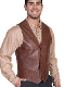 This Mens Scully Lambskin Leather Chocolate Brown Western Vest has a 5 button front and 2 front pocket with single point western yokes & an inner pocket with soft Acetate lining, a true cowboy vest for men.