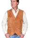 This Mens Scully Rustic Calf Suede Snap Front Classic Western Vest has 5 western star silver snaps in front with 2 frontal pockets all in a vintage cowboy look with soft touch leather and inner lining.
