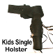 This Child single gun holster for kids comes in Black or Brown leather. A real leather gun belt or pistol holder made in the kids sizes. You can use this kids gun belt for a toy gun or the real thing. fine quality kids leather toy gun holster.