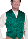This Scully Mens USA Made green Silk Lapel Western Vest is a classic 1800's old west frontier look for men in beautiful paisley silk with authentic pewter buttons for a retro vintage cowboy vest worn at any ranch style wedding.
