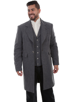 This Mens Scully USA Made Polyester 3/4 Heather Grey Frock Coat has old west tailoring and construction made from the original and is authentic in every detail.It features notched lapels, has two beautiful engraved metal buttons