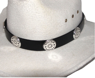 This Silver Shotgun Shell Black Leather Cowboy Hat Band has gun shell conchos on a real leather band with silver buckle end tip and keep for any shooting cowboy or cowgirl.