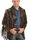 This Scully Mens Expresso suede native fringe western jacket has hand laced beaded trim. A Leather coat with leather fringe trim on front and back yokes, leather fringe trim on shoulders and front pockets.