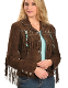 "This Ladies"" Fawn"" Choc.Brown boar suede western jacket by Scully has beads, studs, and conchos, this western jacket has style. Made from boar suede with fringe on the front, back and closes with a 5-button front"