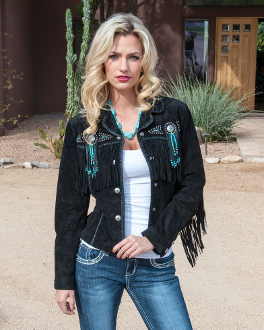 This Scully Womens Beaded Black Suede Western Fringe Jacket has beads, studs, and conchos, this western jacket has style. Made from boar suede with fringe on the front, back and closes with a 5-button front