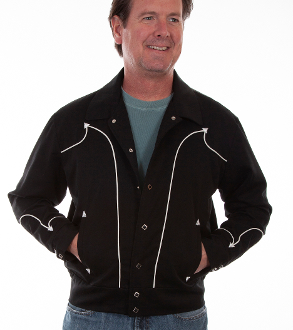 This Scully Mens 50's Vintage White Piped Black Western Jacket has western piped arrowheads reminiscent of the old rodeo days of the 50's with diamond snap front closure with vertical lower smile pockets.The interior is fully lined.