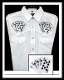"This Men's ""Royal Flush"" White western shirt features detailed embroidered playing cards with the winning hand of a royal flush complete with western yokes and front pockets with retro pearl snaps a staple cowboy shirt"