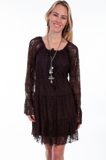 Scully Womens Short Brown Lace Western Dress