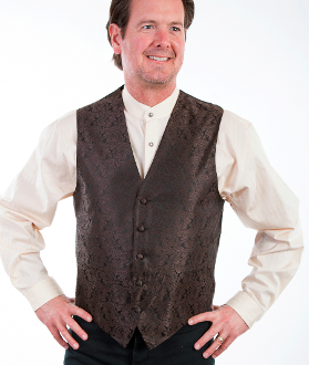 This Scully Mens Brown Paisley Dress western vest is a great color match for western weddings country western dress vest with classic paisley print covered button front and adjustable back strap.