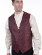 This Scully Mens Burgundy Paisley Dress western vest is a great color match for western weddings kids matching vest available. A western dress vest with classic paisley print covered button front and adjustable back strap.
