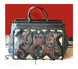 Black and Brown Tooled Leather Western Doctor Bag, western carry on, western luggage sets, luggage bags, tooled western luggage, tooled rolling luggage, doctor bag, western doctor bag, tooled doctor bag