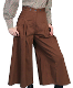 These lovely Scully Womens Brown pleated riding pants are made in the USA with comfortable and fashionable brushed twill cotton authentic 1800's old west womens split skirt with front pockets and pewter buttons for suspenders.