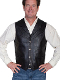 This Mens Scully Black Lambskin Buffalo Snap Front Western Vest has 4 buffalo nickel snaps in front with 2 frontal pockets all in a vintage cowboy look with soft touch leather and inner lining.