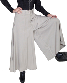 "These Scully Womens Khaki Split Skirt Western Riding Pants make a great pant for riding horses doing cowboy shooting as these riding pants for women drape over for a comfortable rodeo pants for women in a 36"" length."
