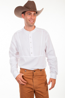 This Mens Scully White western star pull over banded collar shirt is a old frontier Classic style pullover shirt made of fine ribbed cotton with a banded collar and small star buttons.100% cotton.