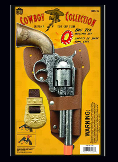 "The Big Tex Solid Die Cast Metal Replica Toy gun is an 11.5"" long Solid Die Cast Metal pistol a throwback from the looks of the old west with real working parts that fires 12 shot ring caps."