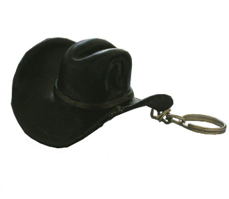 This Black Leather Cowboy Hat Keychain Western Keyring is hand made in Mexico with genuine leather shaped in a traditional cowboy hat to hang on your sun visor or key ring table centerpiece display western wedding gift.