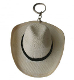 This Straw Cowboy Hat Key Chain Western keyring is hand made in Mexico shaped in a traditional cowboy hat to hang on your sun visor or key ring or even use a table centerpiece display a great western wedding gift.
