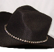 This Black Leather Rhinestone Cowgirl Hat Band with Buckle has round rhinestones and crystals throughout complete with a belt buckle closure a great western hat band for cowgirls.